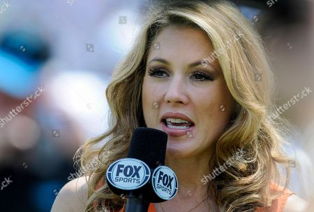 Fox Sports sideline reports Jennifer Hale is shown during an NFL football game between the Carolina Panthers and the Seattle Seahawks in Charlotte, NC