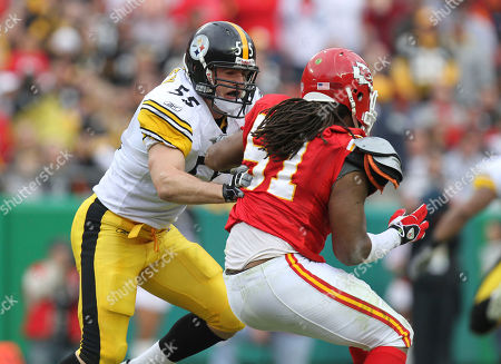 Patrick Bailey, Corey Mays. Pittsburgh Steelers linebacker Patrick Bailey (55) blocks Kansas City Chiefs Corey Mays (51) during the first half of an NFL football game, in Kansas City, Mo