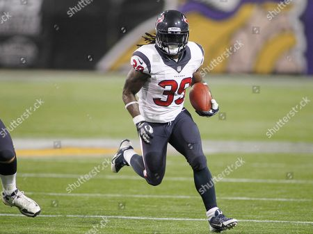 Houston Texans running back Deji Karim (39) runs unhindered in the second half of an NFL preseason football game against the Minnesota Vikings, in Minneapolis