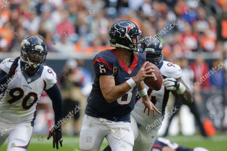 Matt Schaub, Shaun Phillips. Houston Texans quarterback Matt Schaub (8) scrambles away from Denver Broncos Shaun Phillips (90) during the third quarter of an NFL football game, in Houston