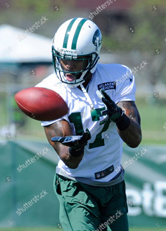 Stock Picture of New York Jets wide receiver Braylon Edwards makes a catch at their NFL football training camp, in Cortland, N.Y