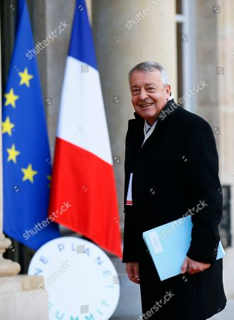 Antoine Frerot, CEO of Veolia Environment group, arrives at the Elysee Palace prior to a meeting on climate change in Paris, . More than 50 world leaders are gathering in Paris for a summit that Macron hopes will give new momentum to the fight against global warming, despite U.S. President Donald Trump's rejection of the Paris climate accord