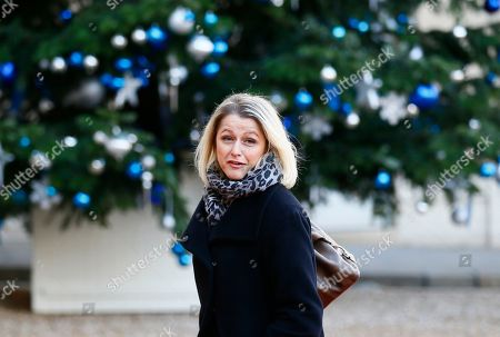 French politician Barbara Pompili arrives at the Elysee Palace prior to a meeting on climate change in Paris, . More than 50 world leaders are gathering in Paris for a summit that Macron hopes will give new momentum to the fight against global warming, despite U.S. President Donald Trump's rejection of the Paris climate accord