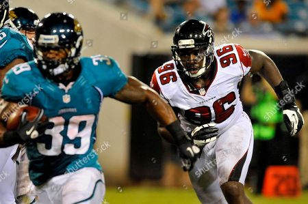 Jonathan Massaquoi, Richard Murphy. Atlanta Falcons defensive end Jonathan Massaquoi (96) chases down Jacksonville Jaguars running back Richard Murphy (39) during the second half of an NFL preseason football game, in Jacksonville, Fla