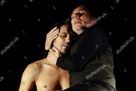 Stock Photo of Spanish actor Eusebio Poncela (R) and another cast member perform during the press review of 'This is not the House of Bernarda Alba', a new adaptation of 'The House of Bernarda Alba', by Spanish dramatist play writer and poet Federico Garcia Lorca in Madrid, Spain, 12 December 2017. The play premiers 14 December 2017 and runs until 07 January 2018 at Canal Theatres in Madrid.