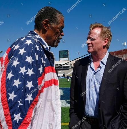 Rosey Grier, Roger Goodell. Former Los Angeles Rams Rosey Grier, left chats with NFL commissioner Roger Goodell prior to a preseason NFL football game between the Rams and the Dallas Cowboys, in Los Angeles