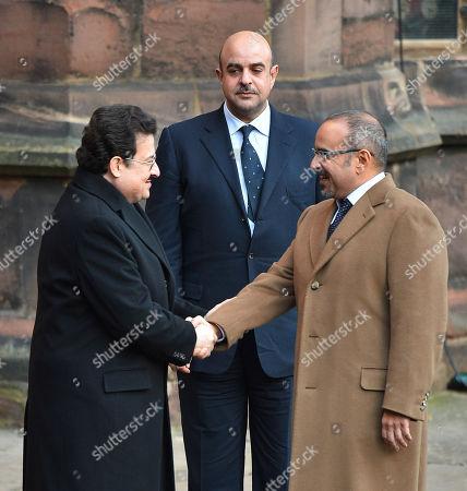 Prince Salman Bin Hamad Al Khalifa (r) Shakes Hands With Prince Mohammed Bin Nawaf Bin Abdelaziz Al Saud (l) With Sheikh Abdullah Bin Hamad Bin Isa Bin Al Khalifa (top).  28/11/16 . DUKe Of Westminster Memorial Service At Chester Cathedral Cheshire.