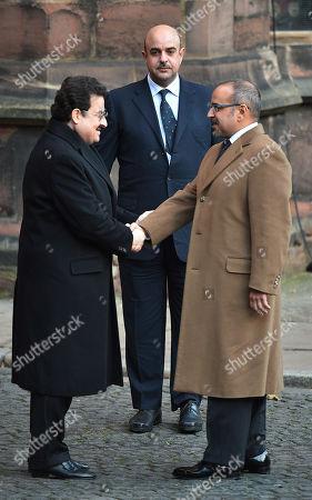 Stock Image of Prince Salman Bin Hamad Al Khalifa (r) Shakes Hands With Prince Mohammed Bin Nawaf Bin Abdelaziz Al Saud (l) With Sheikh Abdullah Bin Hamad Bin Isa Bin Al Khalifa (top).  28/11/16 . DUKe Of Westminster Memorial Service At Chester Cathedral Cheshire.