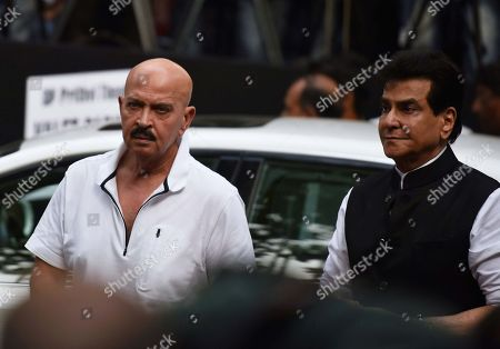 Bollywood actors Jeetendra and Rakesh Roshan during a condolence meeting of late actor Shashi Kapoor