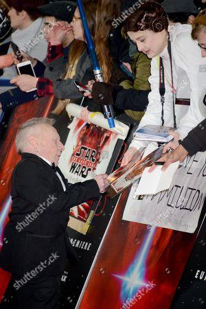Editorial picture of 'Star Wars: The Last Jedi' film premiere, Arrivals, London, UK - 12 Dec 2017