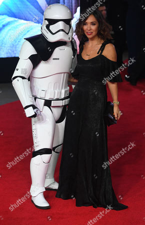 British television personality Mylene Klass (R) arrives at the UK Premiere of 'Star Wars: The Last Jedi' at the Royal Albert Hall in London, Britain, 12 December 2017.