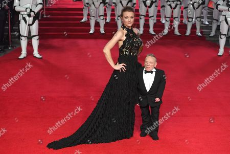 Scottish actor Jimmy Vee (R) arrives with an unidentified guest at the UK Premiere of 'Star Wars: The Last Jedi' at the Royal Albert Hall in London, Britain, 12 December 2017.