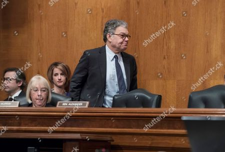 Al Franken, Patty Murray. Sen. Al Franken, D-Minn., who said last week he'll step down in the coming weeks due to mounting allegations of sexual misconduct, walks past Sen. Patty Murray, D-Wash., left, after attending a hearing of the Senate Health, Education, Labor, and Pensions Committee, on Capitol Hill in Washington