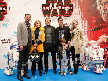 Spain national team head coach Julen Lopetegui (C), and former soccer players Fernando Hierro (L) and Alvaro Arbeloa (2-R) pose for the photographers during the Spanish premiere of 'Star Wars: The Last Jedi' at Kinepolis cinemas in Madrid, Spain, 12 December 2017.