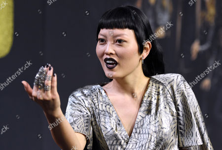 """Hana Mae Lee arrives at the Los Angeles premiere of """"Pitch Perfect 3"""" at the Dolby Theatre on"""