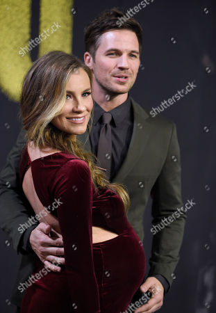 """Matt Lanter, Angela Lanter. Matt Lanter, right, and Angela Lanter arrive at the Los Angeles premiere of """"Pitch Perfect 3"""" at the Dolby Theatre on"""