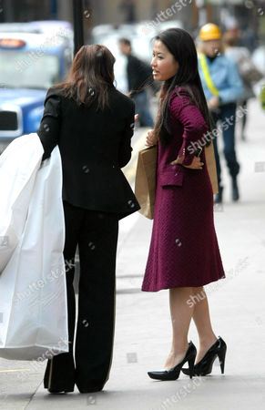 Violinist Sarah Chang shops in Knightsbridge
