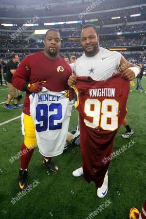Jeremy Mincey, Terrance Knighton. Washington Redskins' Terrance Knighton, left, and Dallas Cowboys' Jeremy Mincey, right, pose for a photo after exchanging jerseys after their NFL football game, in Arlington, Texas