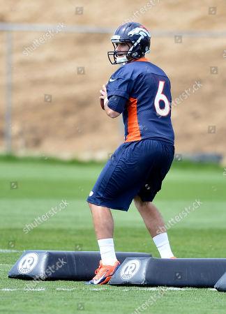 Denver Broncos' Derek Thompson works out during NFL football rookie camp, in Englewood, CO