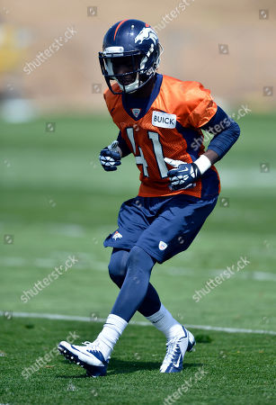 Denver Broncos' Paul Webster works out during NFL football rookie camp, in Englewood, CO