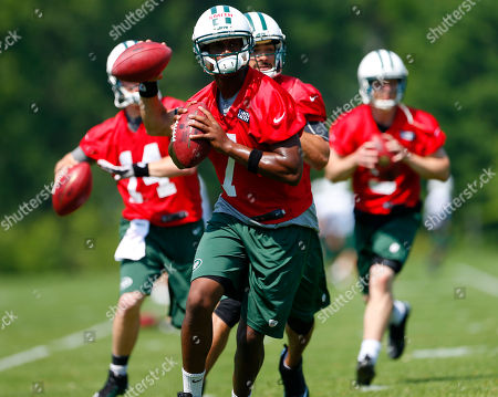 Geno Smith, Mark Sanchez, Greg McElroy, Matt Simms. New York Jets quarterbacks Geno Smith (7), Mark Sanchez (6), Greg McElroy (14) and Matt Simms (5) drop back to pass in a drill during NFL football practice in Florham Park, N.J