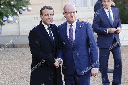 Stock Photo of French President Emmanuel Macron,  Prime Minister of the Czech Republic Bohuslav Sobotka