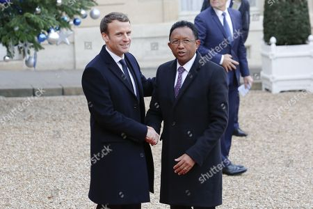 Stock Picture of French President Emmanuel Macron,  Madagascar's President Hery Rajaonarimampianina