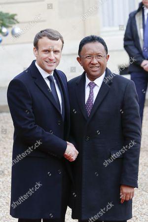 French President Emmanuel Macron,  Madagascar's President Hery Rajaonarimampianina
