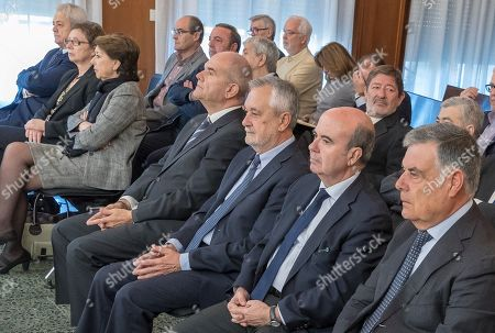 Former Andalusia's regional government presidents Manuel Chaves (4-R) and Jose Antonio Grinan (3-R) attend a trial at the Provincial Court in Seville, Spain, 13 December 2017. Grinan is to testify as a suspect in the case of a regional employment regulation scandal so called ERE case. The court investigates the alleged plot for the illegal concession of public funds by means of fake labour force adjustment plans.