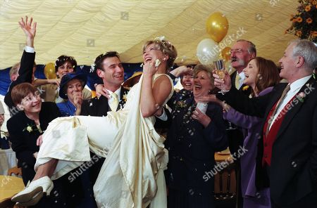 Ep 2357 Thursday 7th May 1998  It's the day of the big wedding for Steve and Kim - With Kim Marchant, as played by Claire King ; Steve Marchant, as played by Paul Opacic ; John Kenyon, as played by Alan Rothwell ; Lady Tara Oakwell, as played by Anna Brecon; Seth Armstrong, as played by Stan Richards ; Betty Eagleton, as played by Paula Tilbrook.