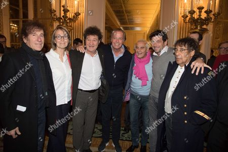 Stock Photo of Alain Souchon, Francoise Nyssen, Robert Charlebois, Michel Leeb, Michel Fugain, Patrick Bruel and Laurent Voulzy