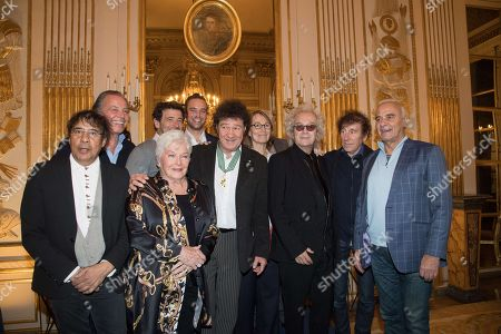 Stock Image of Luc Plamondon, Robert Charlebois, Francoise Nyssen, Patrick Bruel, Michel Leeb, Alain Souchon, Laurent Voulzy, Michel Fugain and Line Renaud