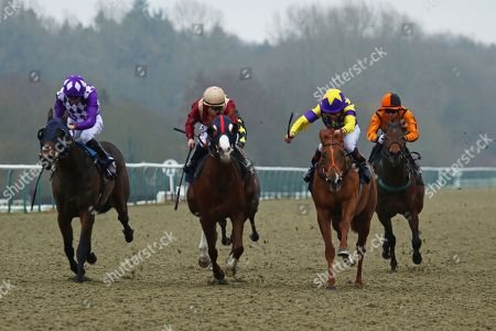 MOTOWN MICK (right yellow) ridden by Timmy Murphy beating Roseau City (maroon) & The Mums (left) in The 32Red.com Nursery Handicap Stakes at Lingfield