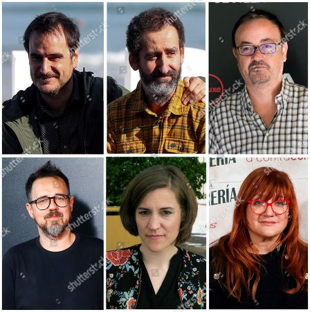 Stock Image of A composite picture from 13 December 2017 shows nominees for the Goya Award for Best Director (L-R, Up-down) Aitor Arregi, Jon Garano, Manuel Martin Cuenca, Paco Plaza, Carla Simon and Isabel Coixet. The Goya Awards ceremony will be held next 03 February 2017.