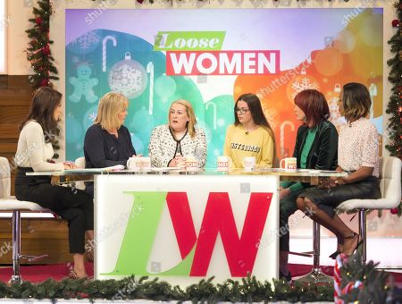 Stock Photo of Andrea McLean, Linda Robson, Lyn Rigby and Courtney Rigby, Janet Street-Porter and Kelli Young