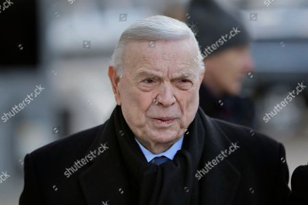 Jose Maria Marin, of Brazil, arrives to federal court in the Brooklyn borough of New York, . Closing arguments are set to take place in the New York trial of three former South American soccer officials charged in the bribery scandal engulfing the sport's governing body