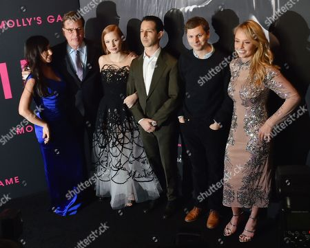 Molly Bloom, Aaron Sorkin, Jessica Chastain, Jeremy Strong, Michael Cera and Madison McKinley