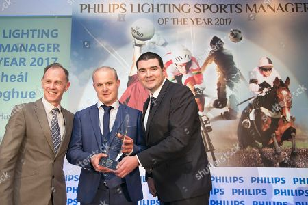 Commercial Manager of Philips Lighting Paul Watson, Galway manager Michael Donoghue and Brendan Griffin T.D, Minsister of State at the Department of Transport, Tourism and Sport