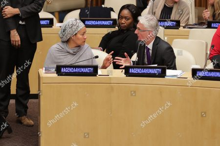 DSG Amina Mohamed during a panel of the Global Humanitarian Policy Forum 2017: 'Reaching for the future: Humanitarianism in 2030' today at the UN Headquarters in New York.