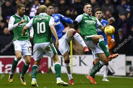 Anthony Stokes wins the race for the ball during the Ladbrokes Scottish Premiership match between Hibernian and Rangers at Easter Road, Edinburgh