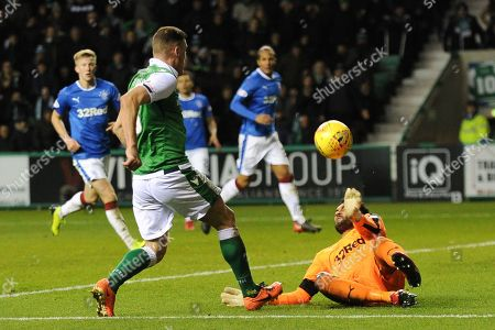 Wes Foderingham makes crucial save of Anthony Stokes' shot during the Ladbrokes Scottish Premiership match between Hibernian and Rangers at Easter Road, Edinburgh