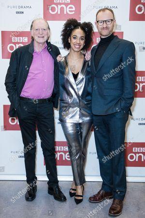 Stock Image of David Bradley, Pearl Mackie, and Mark Gatiss