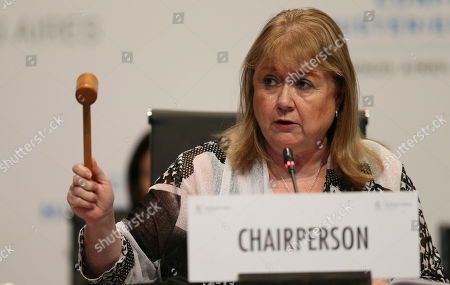 World Trade Ministerial Conference President Susana Malcorra talks during the closing ceremony of the WTO ministerial conference in Buenos Aires, Argentina