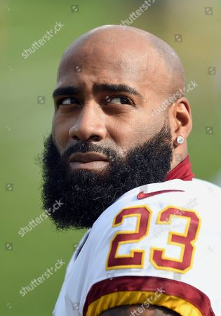 Stock Photo of Washington Redskins safety DeAngelo Hall (23) on the field during pre-game warmups before a game against the Los Angeles Chargers played at the StubHub Center in Carson, CA on