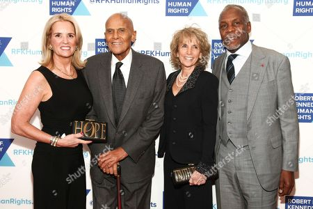 Stock Photo of Kerry Kennedy, Harry Belafonte, Pamela Frank, Danny Glover. Kerry Kennedy, Harry Belafonte, Pamela Frank Danny Glover attend the 2017 Ripple of Hope Awards at the New York Hilton, in New York