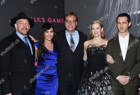 "Bill Camp, Molly Bloom, Aaron Sorkin, Jessica Chastain, Jeremy Strong. Bill Camp, from left, the real-life subject of the film, Molly Bloom, director and screenwriter Aaron Sorkin,  Jessica Chastain and Jeremy Strong pose together at the premiere of ""Molly's Game"" at AMC Loews Lincoln Square, in New York"