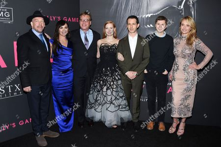 """Bill Camp, Molly Bloom, Aaron Sorkin, Jessica Chastain, Jeremy Strong, Michael Cera, Madison McKinley. Bill Camp, left, the real-life subject of the film Molly Bloom, director and screenwriter Aaron Sorkin,  Jessica Chastain, Jeremy Strong, Michael Cera and Madison McKinley pose together at the premiere of """"Molly's Game"""" at AMC Loews Lincoln Square, in New York"""