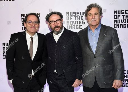Michael Barker, Paul McGuigan, Tom Bernard. Director Paul McGuigan, center, poses with Sony Pictures Classics co-presidents Michael Barker, left, and Tom Bernard at the Museum of the Moving Image Salute to Annette Bening at 583 Park Avenue, in New York
