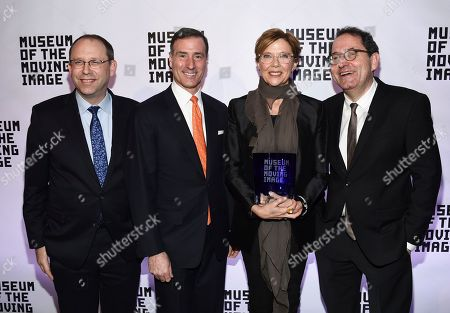 Carl Goodman, Ivan Lustig, Annette Bening, Michael Barker. Museum of Moving Image director Carl Goodman, left, MMI board co-chair Ivan Lustig, honoree Annette Bening and Sony Pictures Classics co-president Michael Barker pose together at the Museum of the Moving Image Salute to Annette Bening at 583 Park Avenue, in New York