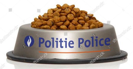 En esta foto suministrada por la Policía Federal de Bélgica se ve un plato con comida parea gato con el nombre de la fuerza policiaca, el lunes 23 de noviembre de 2015. El domingo, la policía pidió a las personas que dejaran de comentar en redes sociales sobre operativos antiterroristas en marcha para no poner en alerta a sospechosos. Pero la gente hizo más que eso, comenzó a hacer bromas y compartir fotos de gatos en internet